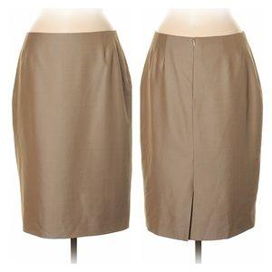 Escada Golden Tan Wool & Silk Skirt